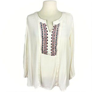 Maurices 4X Aztec Embroidered Tunic Top Ivory